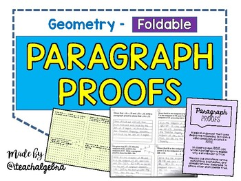 Geometry - Paragraph Proofs - 4 Proofs with Answer Key - Foldable