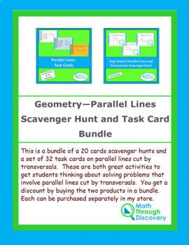 Parallel Lines Scavenger Hunt and Task Card Bundle