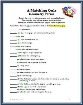 Geometry Parodies: (Play on Words) Matching Activity of 20 Plane Geometry Terms