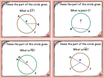 Geometry - Parts of a Circle Set 1