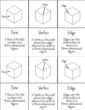 Geometry - Parts of a Solid Fold-Up and Practice Pages