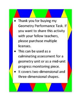 Geometry Performance Task