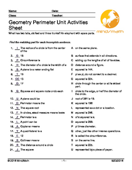 Geometry Perimeter Unit Activities