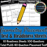 Geometry Placement Test and Readiness Sheets | Summer Math Prep
