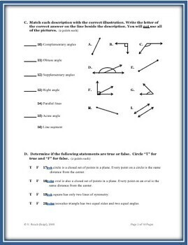Plane Geometry: A 100 Point Cumulative Assessment