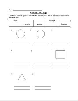 Geometry Plane Shapes Worksheet