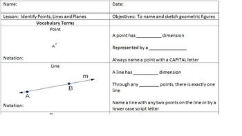 Geometry Points, Lines, and Planes Lesson Folder