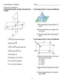 Geometry - Points Lines and Planes worksheet