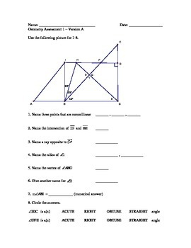 Geometry - Points, lines, angles, and planes test - 2 versions