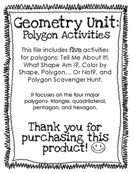 Geometry- Polygon Activities