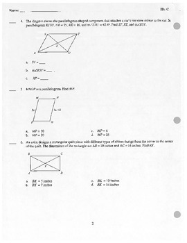 Geometry Polygon Test - Quadrilateral Properties