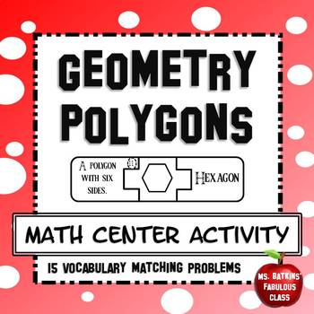 Geometry Polygon Shape Vocabulary Matching Center Activity