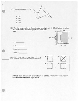 Geometry Polygon/Parallelogram Quiz