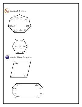 Geometry -Polygons with Algebra, Interior Angle Sum