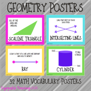 Geometry Posters for Grades Pre-K to 6th grade