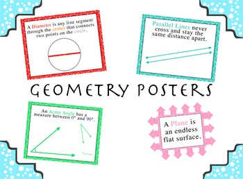 Geometry Vocabulary Posters (16 Pack): Angles, Lines, Circles