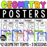 Geometry Posters - 42 Terms - 3 Designs, Neon Colors, Glit