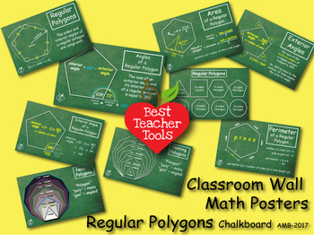 Geometry Posters, Chalkboard style, Polygons Wall Posters,