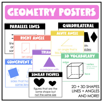 Geometry Posters: Polygons, Lines, Angles, 3D Shapes, and MORE!