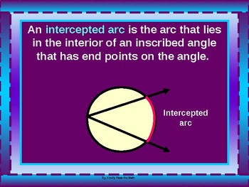 Geometry Power Point:  Inscribed Angles with GUIDED NOTES