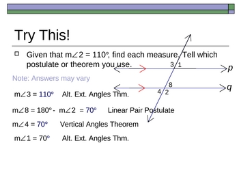 Geometry PowerPoints - Perpendicular and Parallel Lines (Ch 3)