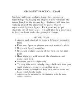 Geometry Practical Exam Form