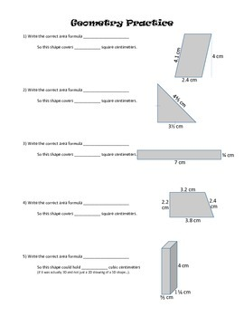Geometry Practice: Parallelograms, Triangles, Trapezoids, Rectangular Prisms