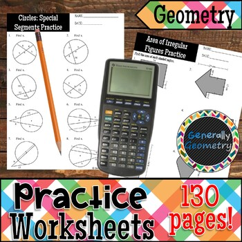 Geometry Practice Worksheets-130 Pages Covering 63 Concepts!
