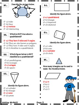 Geometry Pretest/Posttest  for 4th Grade CCSS
