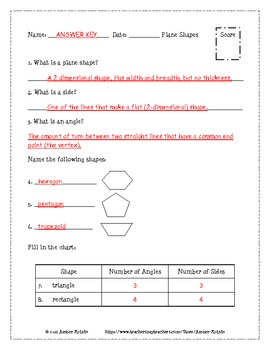 Geometry Pretests and Post Tests (Common Core Aligned) *WITH ANSWERS*