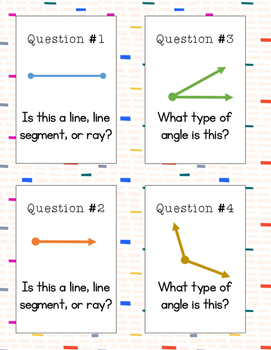 Geometry Problems Around the Room- Lines, Rays, Line Segments, and Angles