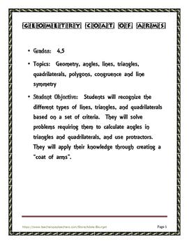 Geometry Project 4th grade, 5th grade