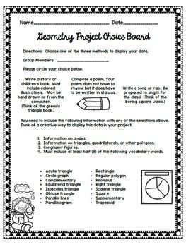 Geometry Project Choice Board