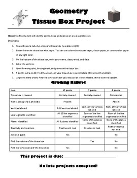 Geometry Project Points, Lines, and Planes with a Tissue Box
