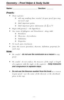 Geometry Proof Helper & Study Guide 1st semester