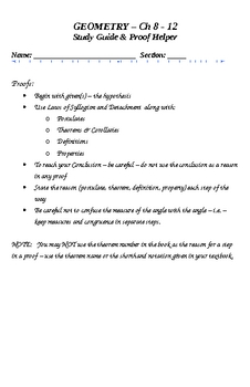 Geometry Proof Helper & Study Guide 2nd semester