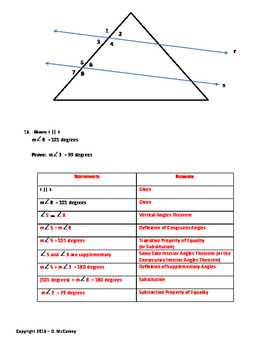 Geometry Proof Practice with Parallel Lines cut by Transversals - Level 1