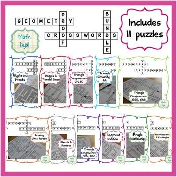 Geometry Proofs Crossword Puzzles Bundle
