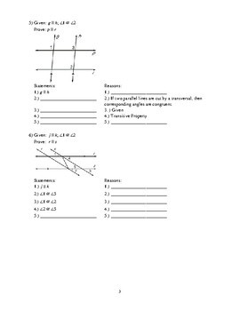 Geometry - Proofs Packet #2 - Proving Lines Parallel