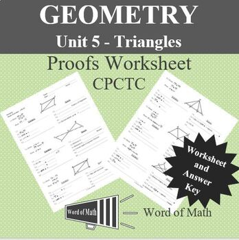 Geometry Proofs Worksheet - CPCTC Proofs