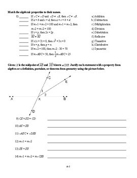Geometry - Proofs and Special Angle Pairs Test (2 versions with key)