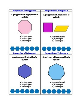 Geometry Properties of Polygons: 42 Task Cards CCSS.Math.Content.5.G.B.3