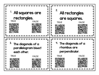 Geometry Properties of Quadrilaterals Task Cards with QR Codes