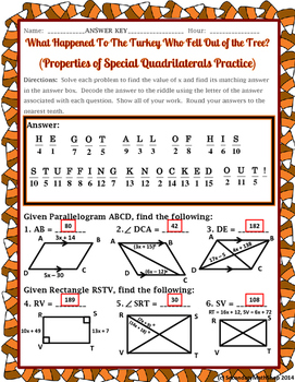 Quadrilaterals - Properties of Quadrilaterals Thanksgiving Riddle ...