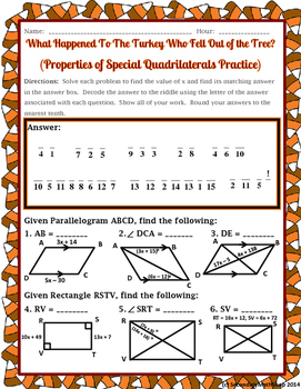 Quadrilaterals -  Properties of Quadrilaterals Thanksgiving Riddle Worksheet