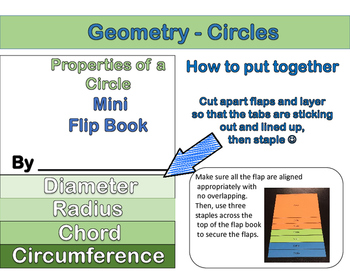 Geometry - Circles Foldable & Mini Flip Book (Radius, Diameter, Chord)