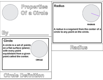 Geometry - Circles Foldable & Mini Flip Book (Radius, Diameter, Chord)