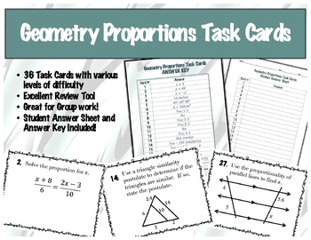 Geometry Proportions Task Cards - 36 of them!