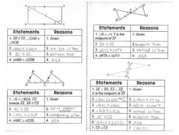 Geometry - Proving Congruence ASA and AAS - Set of 2 Foldables
