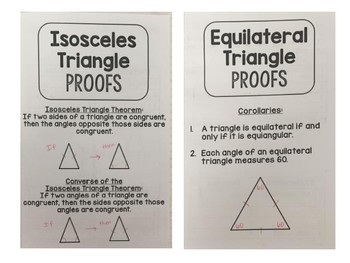 Geometry - Proving Congruence Isosceles and Equilateral Triangles - 2 Foldables